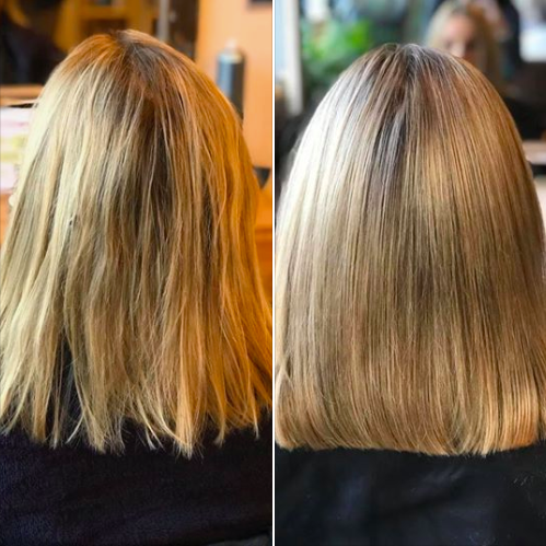 Before and After of Grown Out Yellow Highlights Treatment Inspirations Boutique